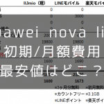 Huawei nova liteの初期費用、月額費用の最安値は?