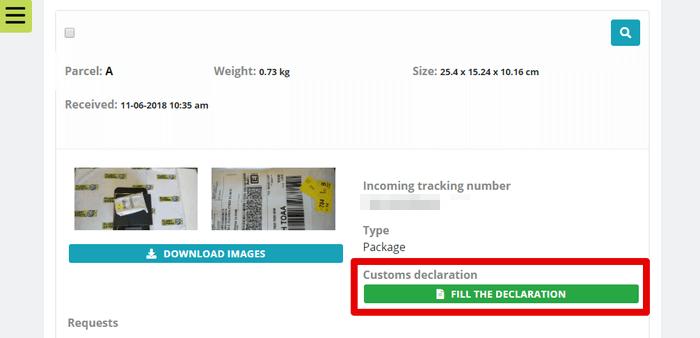 Planet Expressのダッシュボードから税関申告書類作成ボタンをクリック