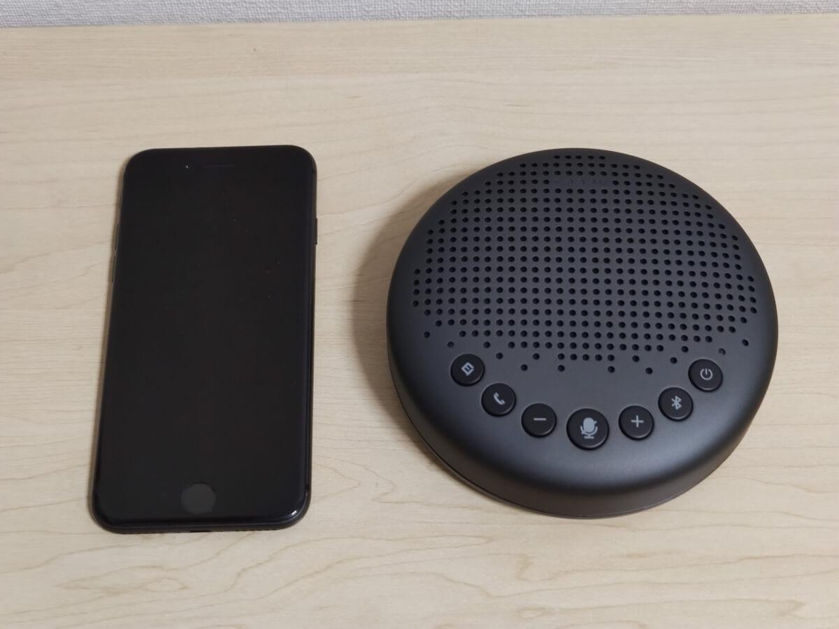 eMeet LunaとiPhone 8の大きさ比較
