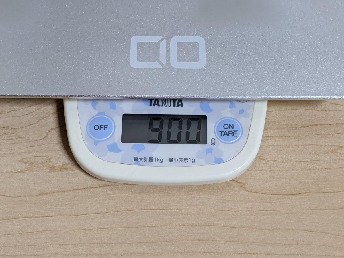 CIO-PCST-02 折りたたみ式ノートパソコンスタンドの実測の重さは900g