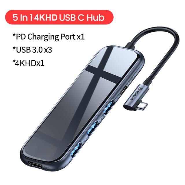 Baseus L字USB-Cハブ 5 in 1 4KHD版